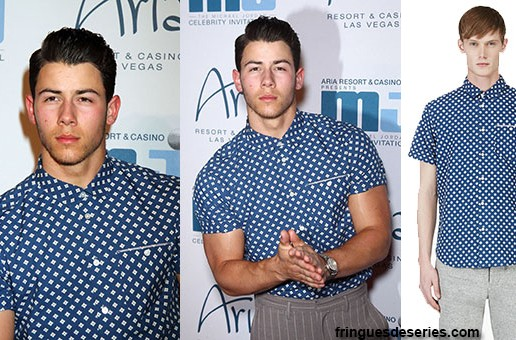 Style : Nick Jonas wearing a floral Marc by Marc Jacobs shirt