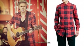 ONE DIRECTION : Niall Horan wearing a red check shirt