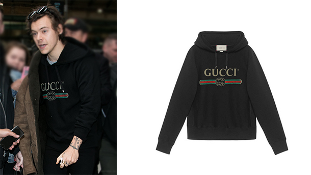 7ce2058e02f STYLE   Harry Styles in Paris wearing a Gucci black hoodie ...