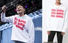 STYLE : Louis Tomlinson with a  Raf Simons thank you print hoodie