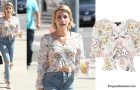 STYLE : Emma Roberts with a Leopard and Ruby Ruched Blouse