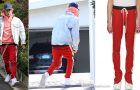 STYLE : Justin Bieber in Red & Off-White Knit Track Pants