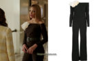 DYNASTY : Dominique's black jumpsuit in S3E14