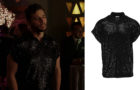 DYNASTY : Sam's black sequinned shirt in S3E14